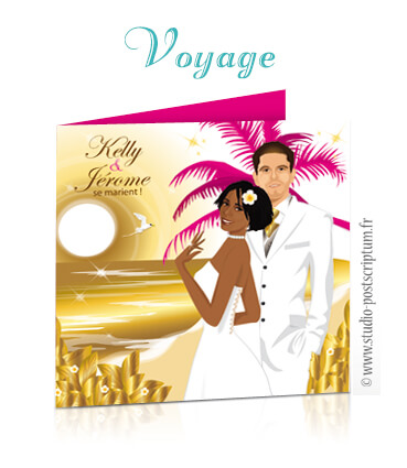 faire part de mariage voyage : ile, cocotiers, palmier, mer et plage - dessin originaux Couple de mariés