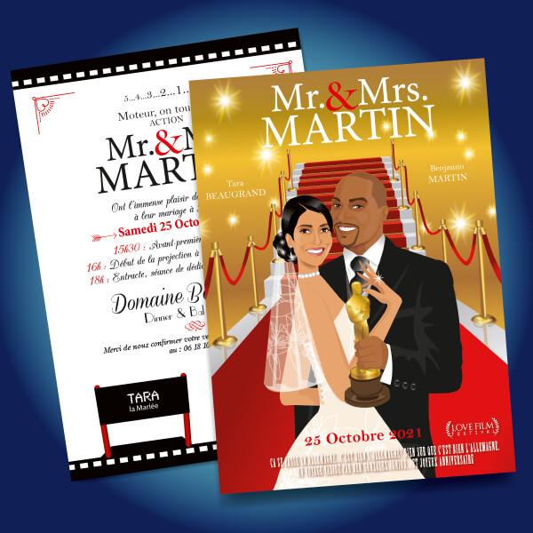 Faire-part de mariage original romantique cinéma - dessin originaux Couple de mariés tapis rouge spot projecteur oscars césars cannes