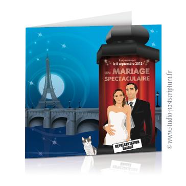 Faire-part de mariage original romantique cinéma - dessin originaux Couple de mariés affiche colonne maurice fond paris tour eiffel bleu et rouge