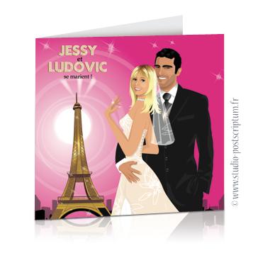 Réf. : FPPAR 04 Faire-part de mariage original voyage romantique Couple de mariés à Paris devant la tour Eiffel noir et rose fuschia- chic – drôle