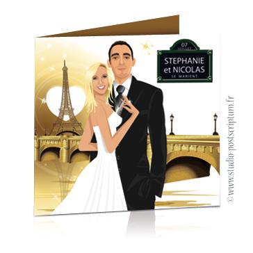 Faire-part de mariage original voyage romantique Couple de mariés à Paris avec la tour Eiffel et un pont teintes or et blanc – chic – drôle plaque de rue