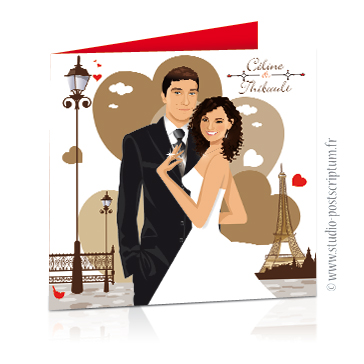 faire part mariage dessin original des mariés romantique rétro chic années 20's Couple de mariés sur fond Paris avec tour Eiffel et coeur sépia année folles vintage