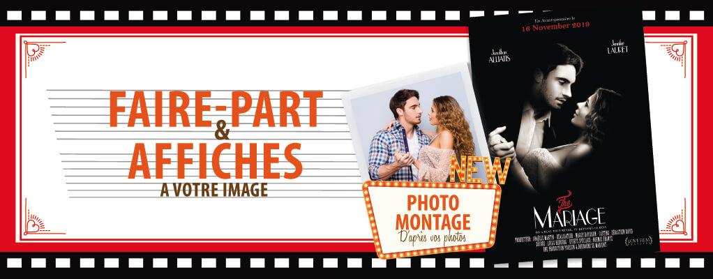 Faire-part de mariage affiche de cinéma original photo montage d'après photos. style rétro vintage noir et blanc – the Artist