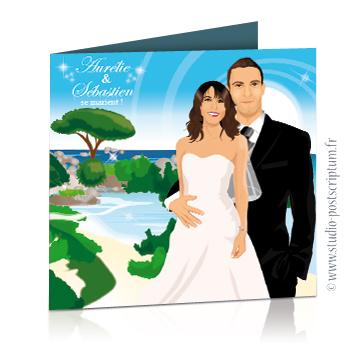 Faire-part de mariage original voyage – dessin d'après photos. Couple de mariés sur la plage d'une île paradisiaque corse avec arbre parasol
