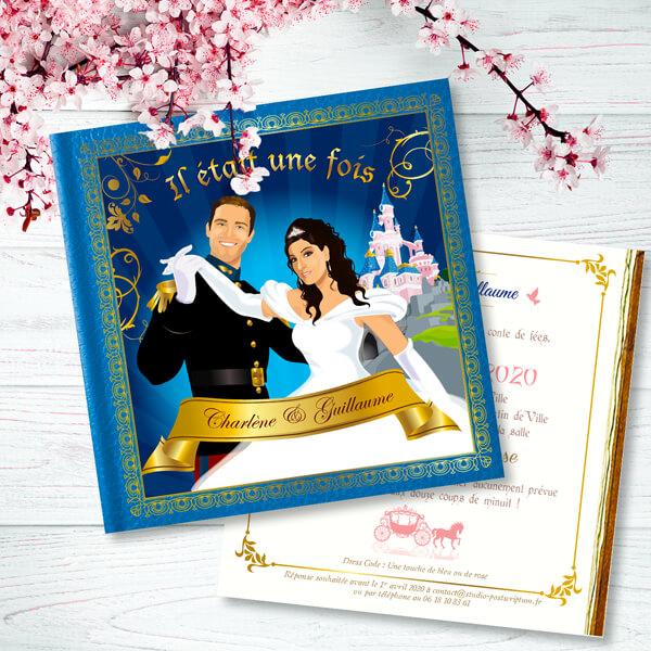 Faire-part de mariage original romantique –dessin d'après photos. Couple de mariés en prince charmant et princesse style cendrillon Fond bleu avec le château de la Belle au bois dormant