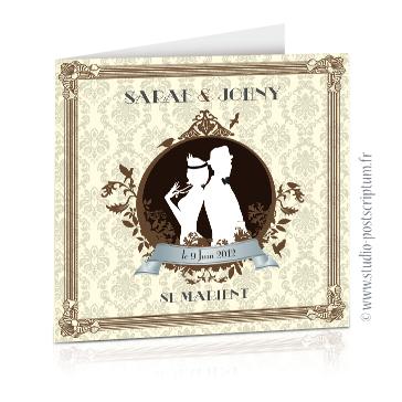 faire part mariage dessin silhouette des mariés romantique rétro chic années 20's Couple de mariés sur fond rétro beige et marron chocolat avec cadre chic des années folles tenue élégante Charleston
