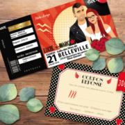 Faire-part de mariage original et drôle sur le thème musique Rock Rouge et noir avec perfecto et robe à pois - coupons repas - billet ticket de concert rock original