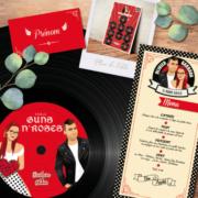 Faire-part de mariage original et drôle sur le thème musique Rock Rouge et noir avec perfecto et robe à pois pour ajouter une touche Rockabilly à votre mariage - Menu Rock, plan de table Rock vintage années 50 60, disque vinyle autocollant, marque-place, nom de table de mariage Rock