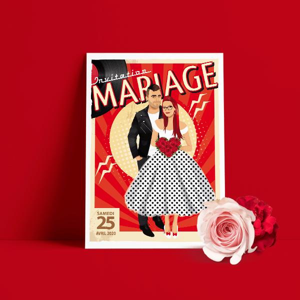 Faire-part de mariage sur le thème musique Rock Rouge et noir avec perfecto et robe à pois pour ajouter une touche Rockabilly à votre mariage
