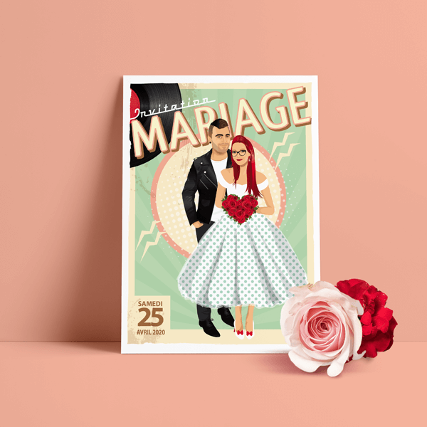 Faire-part de mariage sur le thème musique Rock aux couleurs pastel vintage – avec perfecto et robe à pois pour ajouter une touche Rock'n Love à votre mariage