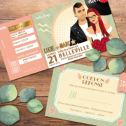 Faire-part de mariage sur le thème musique Rock aux couleurs pastel vintage – avec perfecto et robe à pois pour ajouter une touche Rock'n Love à votre mariage - coupons repas - billet ticket de concert rock original