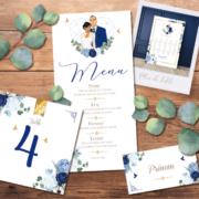 Décoration pour invitation de mariage chic et élégant - thème romantique chic doré, coeurs bleu pastel nuit et or Style amour minimaliste chic - plan de table, menu, noms de table, marque-place, nominette, numéro de table