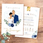 Faire-part de mariage chic et élégant - thème romantique chic doré, coeurs bleu pastel nuit et or Style amour minimaliste chic avec ligne de programme du mariage avec des pictogrammes Portraits dessin d'après vos photos, caricature ou avatar - Invitation pour mariage original