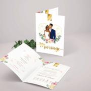 Faire-part de mariage élégant et chic thème romantique bohème, rose poudré et bleu nuit. Style amour minimaliste chic avec ligne de programme du mariage avec des pictogrammes Portraits dessin d'après vos photos, caricature ou avatar - Invitation pour mariage original