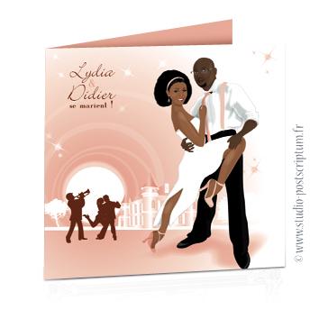 faire part de mariage original romantique vintage chic - dessin originaux couple de mariés dansant devant un château abricot pêche poudré élégant