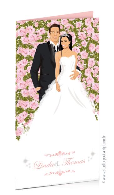 faire part de mariage original romantique vintage chic - nature champêtre bucolique originaux - Couple de mariés sur mur de roses poudrées chic bucolique - élégant