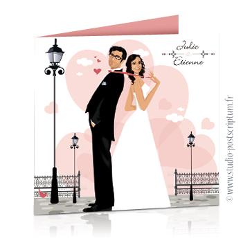 aire part de mariage original romantique vintage chic - dessin originaux Couple de mariés debout dans une rue romantique avec lampadaires sur fond de coeurs couleur rose poudré vintage