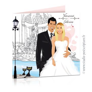 Faire-part de mariage original voyage romantique Couple de mariés devant la fontaine de Trevi à Rome gris et rose – vintage – chic – drôle