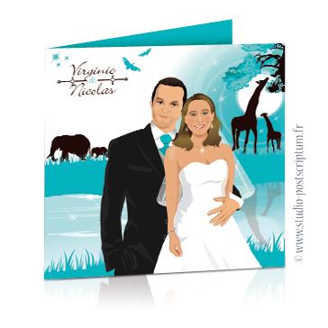Faire-part de mariage original voyage africain – dessin d'après photos. Couple de mariés sur un fond savane en Afrique avec des animaux et des teintes bleu et marron