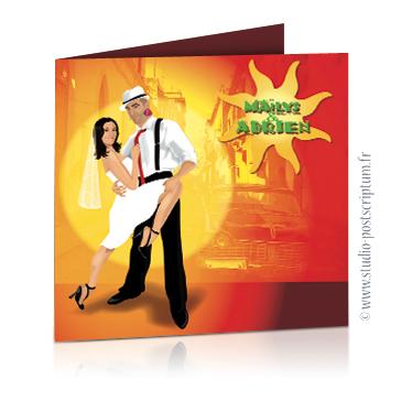 Faire-part de mariage original voyage – dessin d'après photos. Couple de mariés dansant la salsa sur un fond latino d'amérique du sud – Argentine