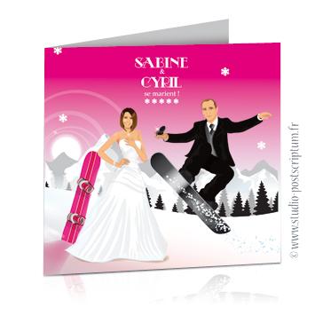 Faire-part de mariage original et drôle – dessin d'après photos. Couple de mariés sur des skis et un surf- thème sport d'hiver à la montagne Fun – hiver et décalé