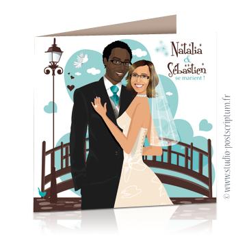 faire part de mariage original romantique vintage chic - dessin originaux Couple de mariés devant un pont dans un jardin avec un fond de coeurs couleur turquoise tendre et marron glacé vintage