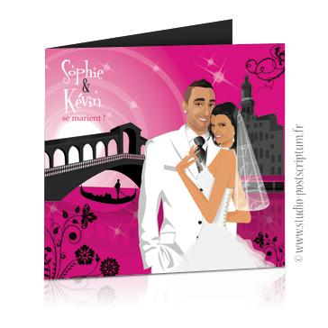 Faire-part de mariage original voyage romantique Couple de mariés à Venise devant le pont du Rialto noir et rose fuschia – chic – drôle