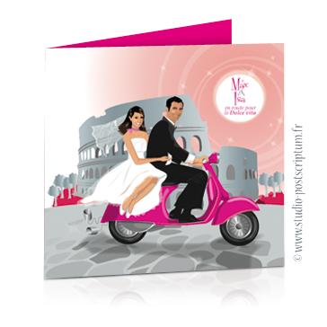 faire part de mariage original romantique vintage chic - dessin originaux couple de mariés romantique sur une vespa fuschia vintage à Rome couleur poudré rose