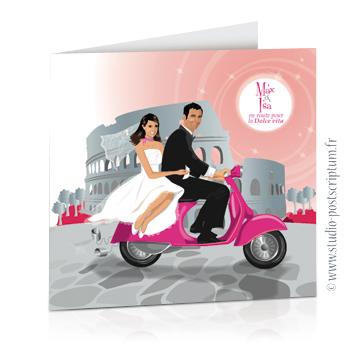 Faire-part de mariage original voyage romantique Couple de mariés sur une Vespa à Rome gris et rose – vintage – chic – drôle