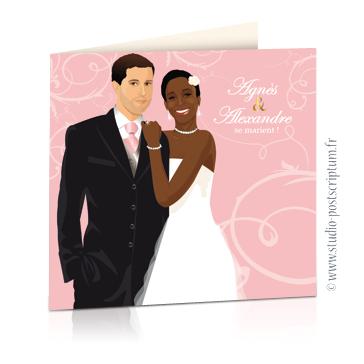faire part de mariage original romantique vintage chic - dessin originaux couple enlacés sur fond rose poudré tendre vintage avec volute