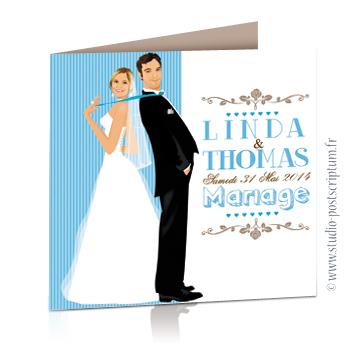 faire part de mariage original romantique vintage chic - dessin originaux couple de mariés dos à dos genre Pretty woman sur fond kraft bleu poudré blanc et taupe pour un effet vintage