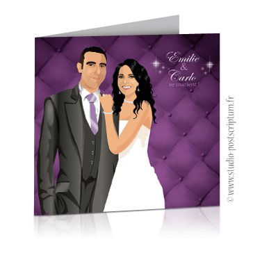 Faire-part de mariage originaux et romantiques en dessin d'après vos photos : baroque violet et gris avec fond capitonné