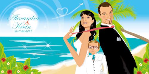 Faire-part de mariage original voyage – dessin d'après photos. Couple de mariés sur la plage d'une île paradisiaque avec des cocotiers et des fleurs exotiques avec enfant