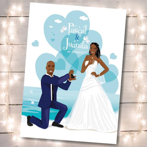 Faire-part de mariage original voyage – dessin d'après photos. Fond plage et mer - bleu et Blanc Chic romantique