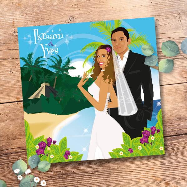 Faire-part de mariage original voyage – dessin d'après photos. Couple de mariés sur une plage du Mexique avec des cocotiers et des fleurs exotiques