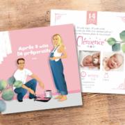 Faire-part de naissance original et drôle - bébé en travaux - couleur rose pastel poudré. Portraits famille - naissance bébé fille - dessin d'après vos photos, caricature ou avatar - Annonce naissance bébé originale