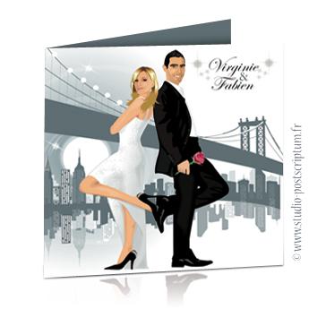 Faire-part de mariage original romantique – dessin d'après photos Couple de mariés à New-York – gris et blanc Rétro – vintage – chic – drôle