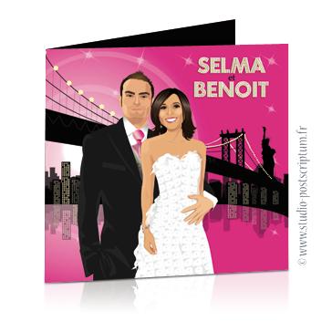 Faire-part de mariage original romantique – dessin d'après photos Couple de mariés à New-York – noir et rose fuschia statue de la liberté – chic – drôle