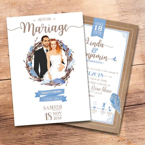 Faire-part de mariage original – nid et plume bohème chic – vintage couleurs pastel bleu Bleu pastel et taupe kraft