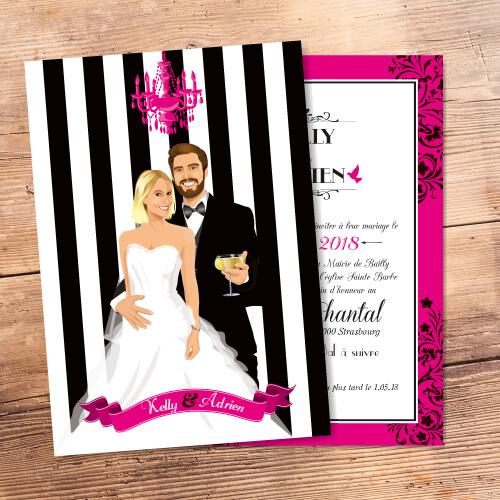 Faire-part mariage baroque noir et blanc et fuschia - Faire-part, invitation ou save the date Portraits dessin caricature - chic vintage et romantique.