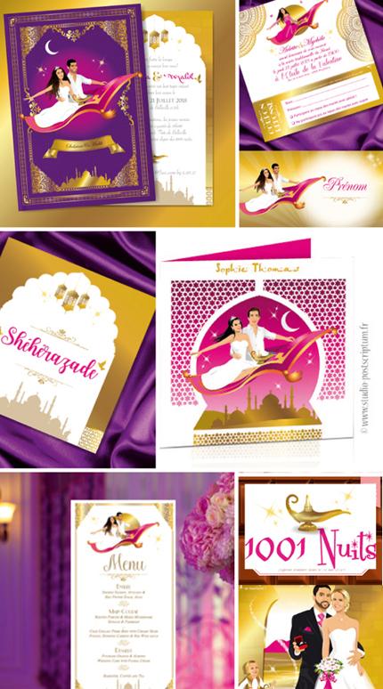 Mariage oriental 1001 nuits - idée thème de mariage - faire-part original, invitation ou save the date sur tapis volant comme Aladdin et Shéhérazade. Portraits dessin caricature - blanc or et violet Bollywood chic vintage et romantique.