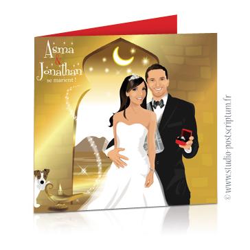 Faire-part de mariage original voyage oriental Couple de mariés sur fond oriental or, blanc et fuschia 1001 nuits, Aladin et lampe de génie frottée par un chien