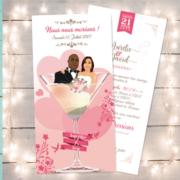 Faire-part de mariage original romantique Couple dans un verre de cocktail - rose poudré et blanc - drôle humour