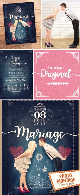 Faire-part de mariage original craie photo montage d'après photos. style rétro vintage bohème champêtre romantique coeurs