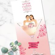 Faire-part de mariage original romantique Couple dans un verre de cocktail couple gay lgbt - rose poudré et blanc
