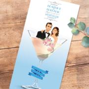 Faire-part de mariage original romantique Couple dans un verre de cocktail - bleu poudré gris et blanc