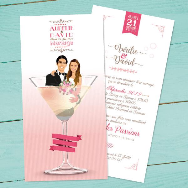 Faire-part de mariage original romantique Couple dans un verre de cocktail - rose poudré taupe et blanc