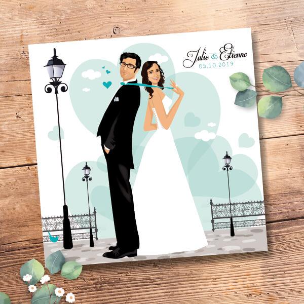 Faire-part de mariage original romantique Couple de mariés et décor coeurs - bleu celadon gris et blanc