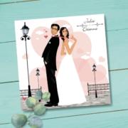 Faire-part de mariage original romantique Couple de mariés et décor coeurs - rose poudré gris et blanc