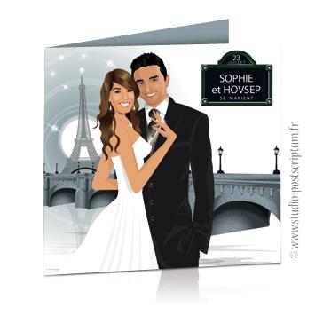 Faire-part de mariage original voyage romantique Couple de mariés à Paris devant un pont sur la Seine gris – chic – drôle avec plaque de rue